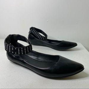 BCBGeneration Zaylin Studded Ankle Strap Flats